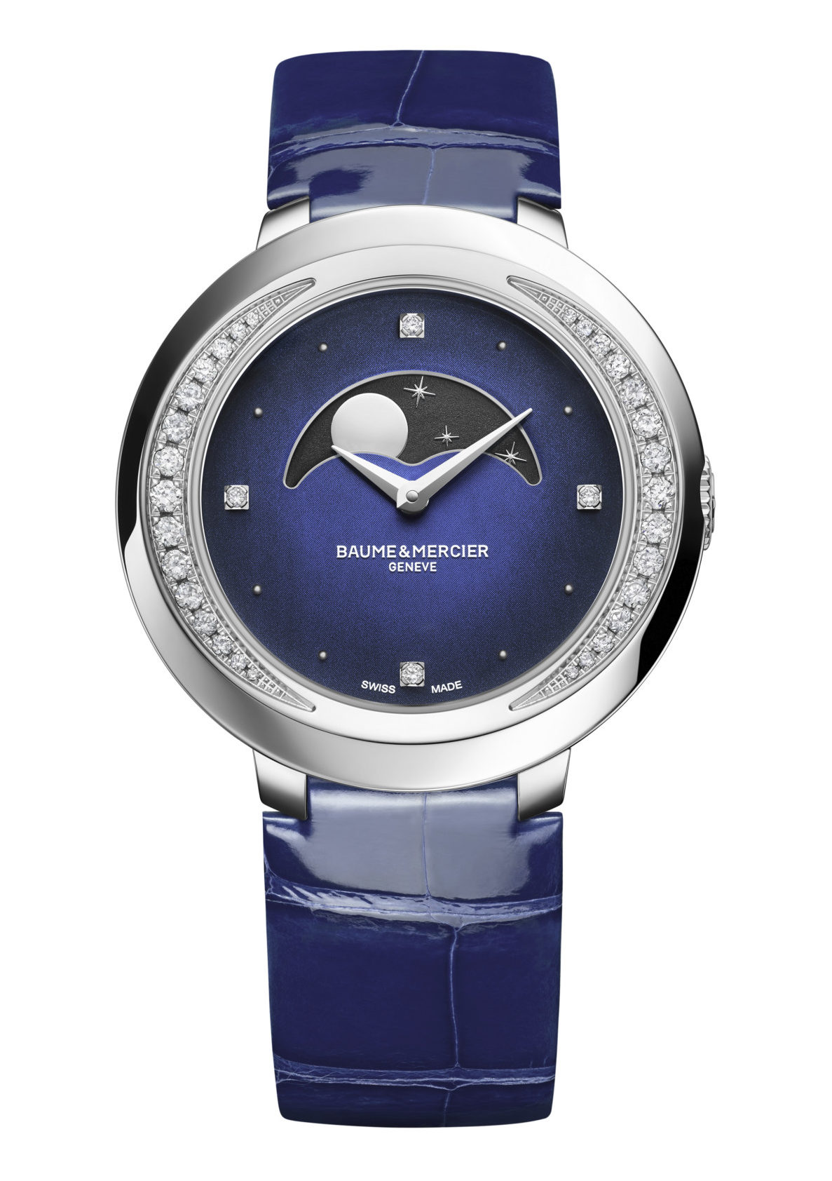 Baume et Mercier Promesse 10347 front steel blue bracelet 34 mm moon phase