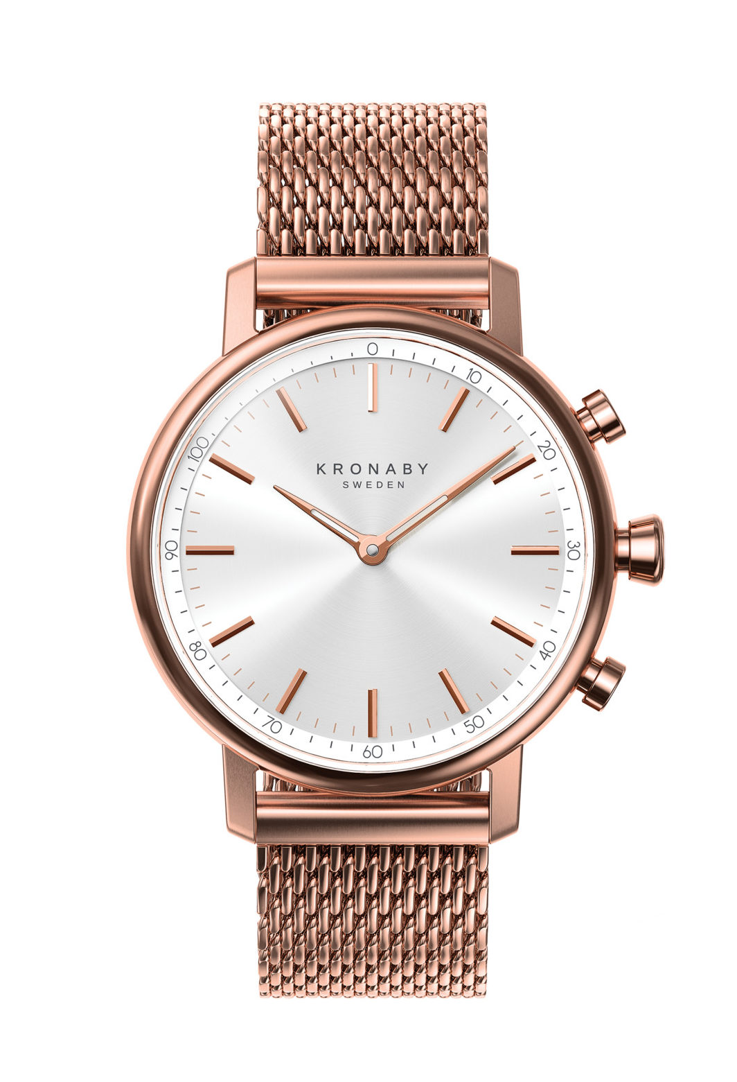 The CARAT family expresses Scandinavian refinement and elegance and is made of carefully selected premium materials and finishes that Kronaby has chosen to match an effortless sense of style. The case size is 38mm and the model comes in six different variants with 18mm bracelets in stainless steel, solid links/mesh or leather.