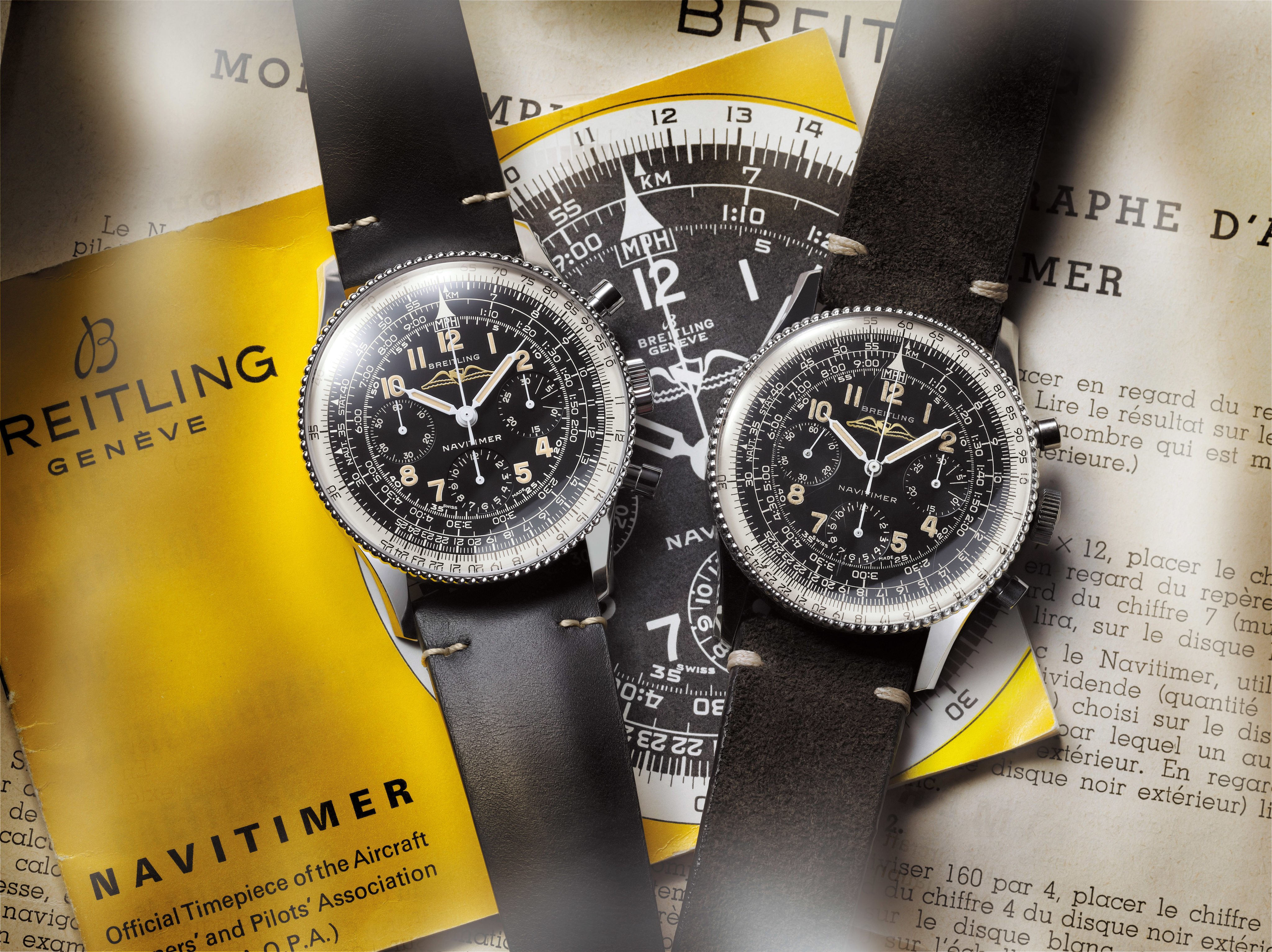 Navitimer Ref. 806 1959 Re-Edition and the historical Navitimer Ref. 806 from 1959 (left to right)